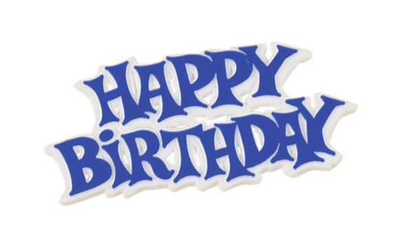 Blue and White Happy Birthday Plastic Cake Decoration Motto