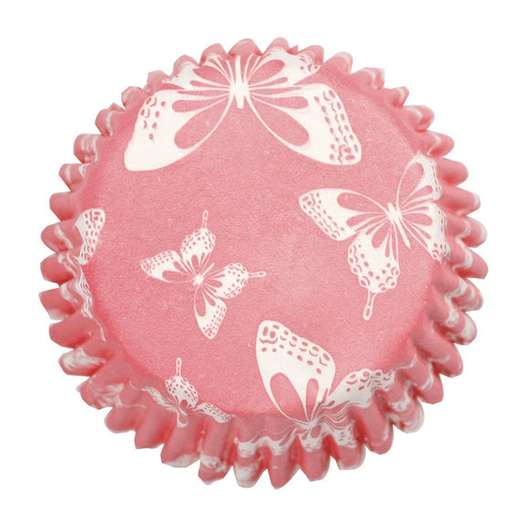 Blush Pink Butterfly Printed Cupcake Baking Cases