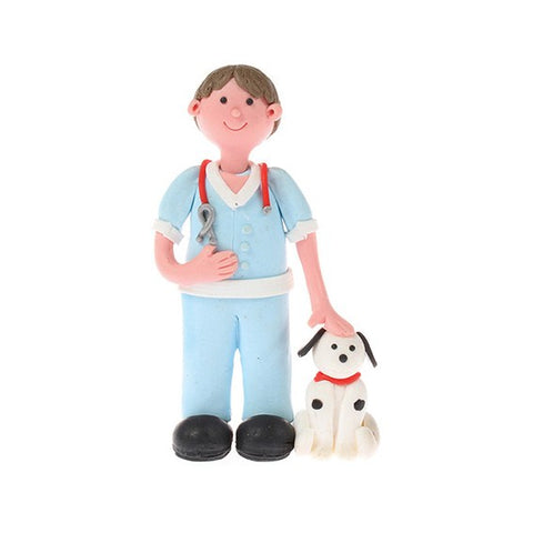 Claydough Vet with Dog Cake Topper Figure