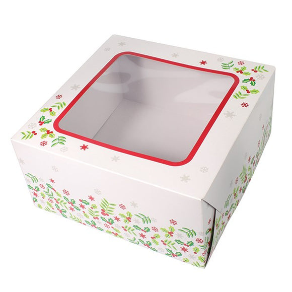 CHRISTMAS CAKE BOX WITH WINDOW White WITH Holly Design 6