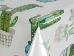 Cactus PVC Wipe Clean Vinyl Table Covering / Table Cloth