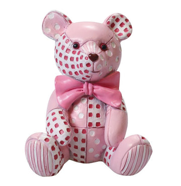 Cake Topper Figurine - Pink Patchwork Ted Teddy Teddy Bear Baby Girl