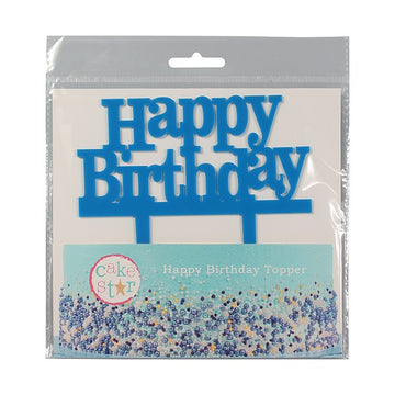Cake Star Happy Birthday Blue Cake Topper Motto Pic