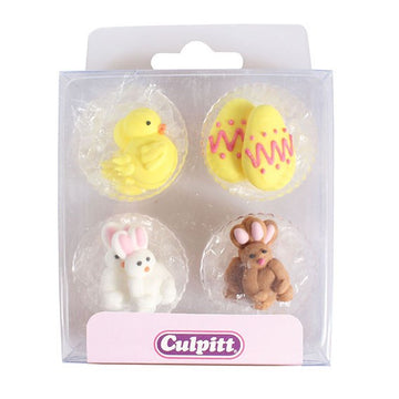 Chick, Egg and Rabbit Edible Sugar Pipings for cakes and cupcakes