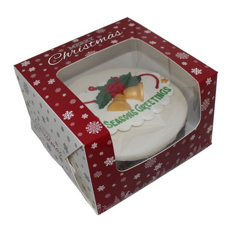Christmas Cake Box with Window Red with Snowflake Design 8""