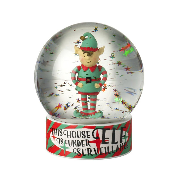 Christmas Elf Snow Globe - This house is under Elf Surveillance
