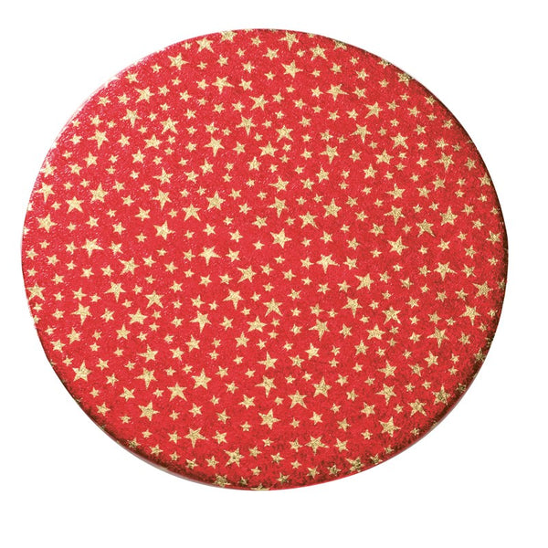 10'' (254mm) Christmas Red with Gold Stars Double Thick Round Cake Card