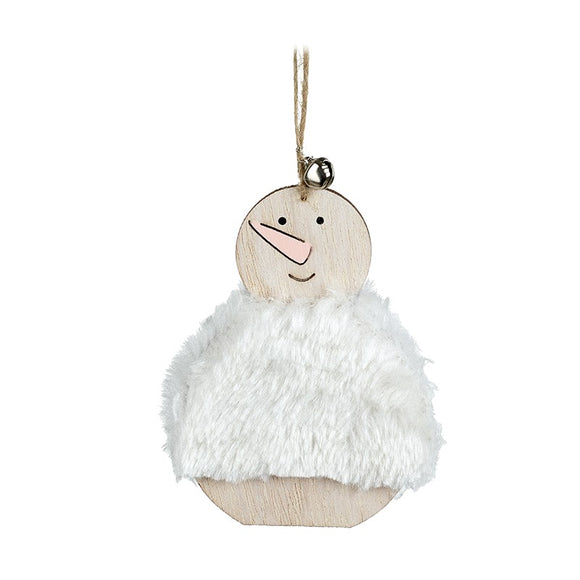 Christmas Tree Hanging Decoration Wooden Snowman In White Fluffy Jumper