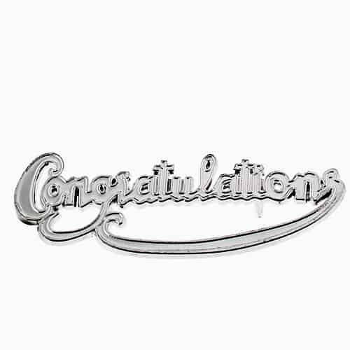 Congratulations Plastic Cake Decoration Silver Motto