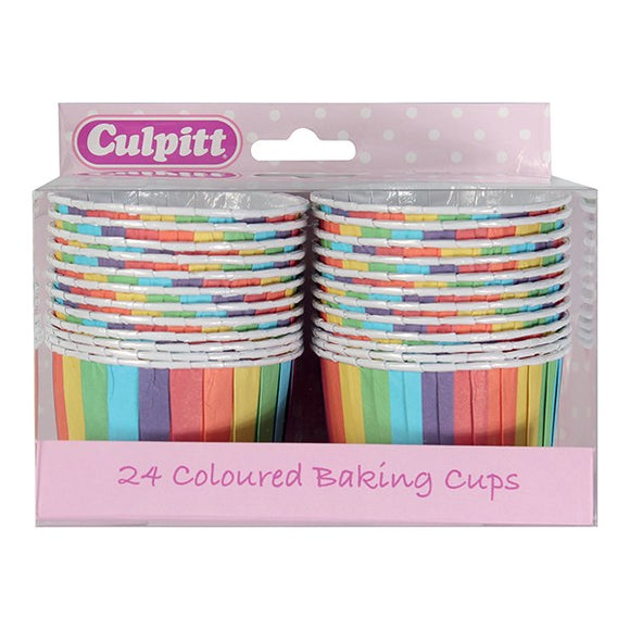 Culpitt Rainbow Colourful Cupcake Baking Cups - 24 cups