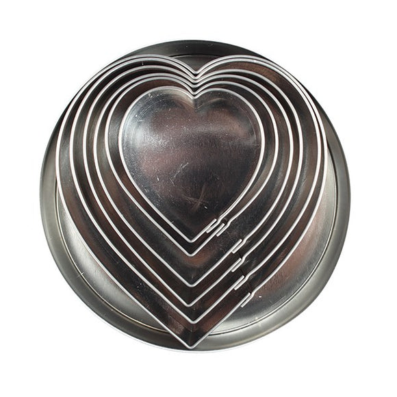 DecoPac Heart Stainless Steel Cutters - 6 Pieces
