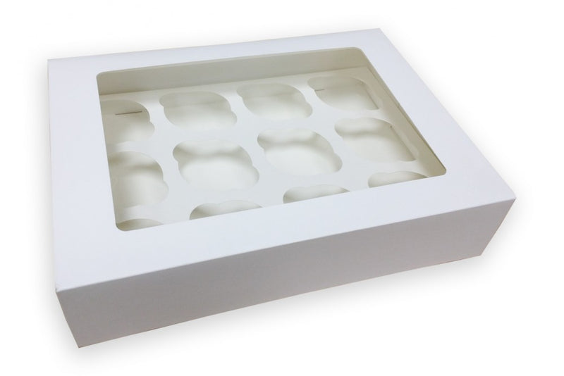 "12 (Dozen) Cavity White Cupcake Box 3"" Deep"