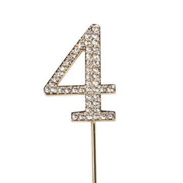 Diamante Number 4 - Gold Colour Wire Cake Topper