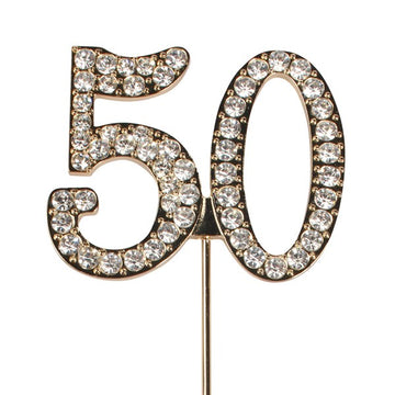 Diamante No 50 - Gold Colour Wire Instant Cake Topper