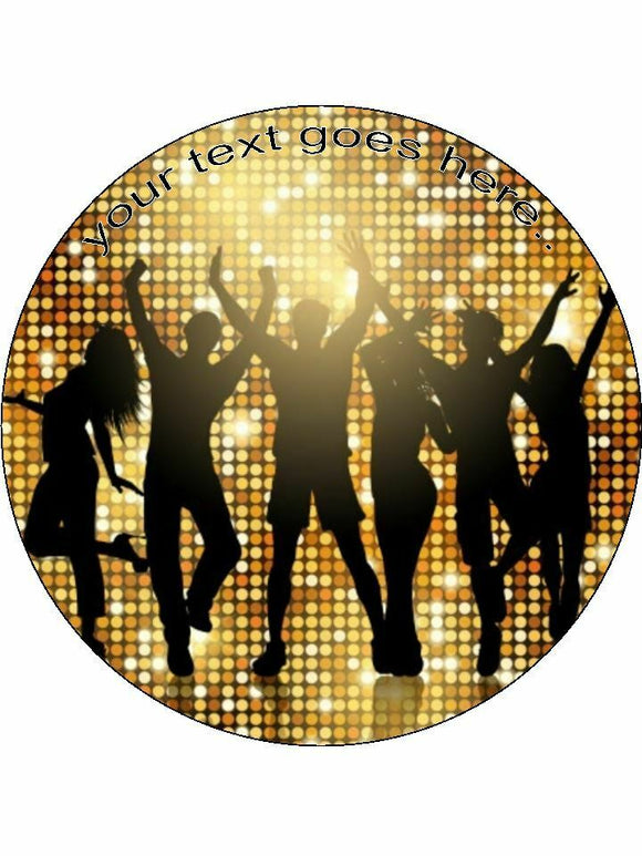 Disco dancing gold 70's Personalised Edible Cake Topper Round Icing Sheet