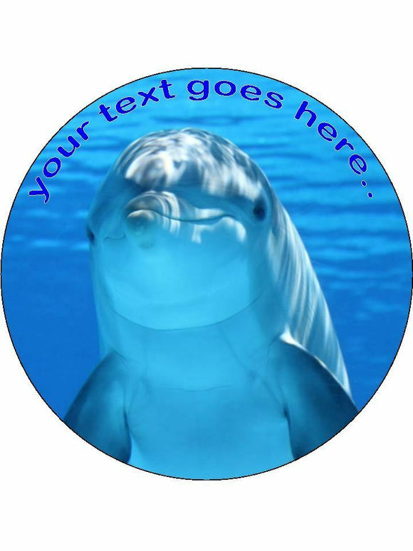 Dolphin animal ocean Personalised Edible Cake Topper Round Icing Sheet
