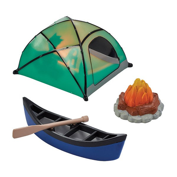 Fireside Camping Celebration Cake Decoration DecoSet - Boat, Tent & Campfire