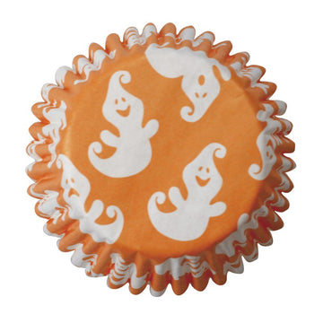 Orange Halloween Ghost Printed Cupcake Baking Cases Pack of 54