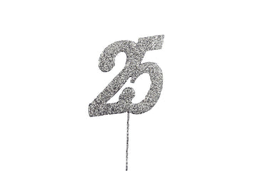 Glitter Number on Stem Instant Cake Topper - 25 Silver
