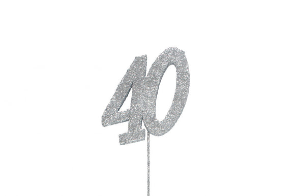 Glitter Number on Stem Instant Cake Topper - 40 Silver