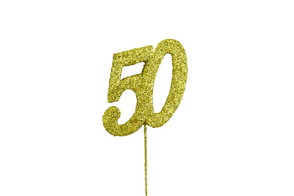 Glitter Number on Stem Instant Cake Topper - 50 Gold