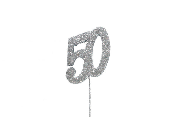 Glitter Number on Stem Instant Cake Topper - 50 Silver