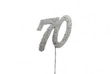 Glitter Number on Stem Instant Cake Topper - 70 Silver