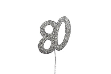 Glitter Number on Stem Instant Cake Topper - 80 Silver