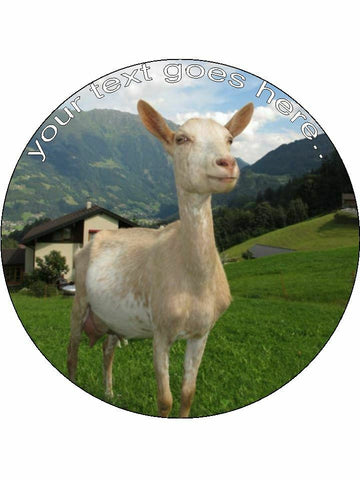 Goat Farm yard animal Personalised Edible Cake Topper Round Icing Sheet