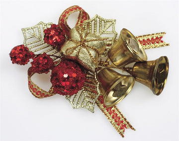 Gold Holly and Bells Christmas Decorations - perfect for cake and craft