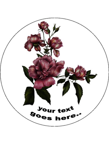 Gothic Floral Flowers Personalised Edible Cake Topper Round Icing Sheet