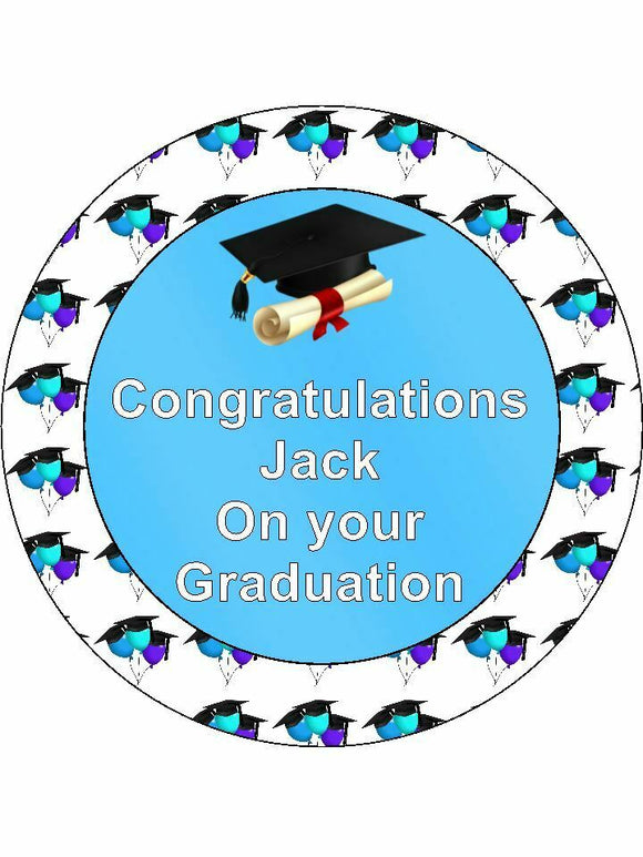 Graduation blue balloons Personalised Edible Cake Topper Round Icing Sheet