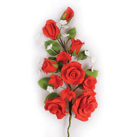 Gum Paste Floral Spray Red Rose 170mm