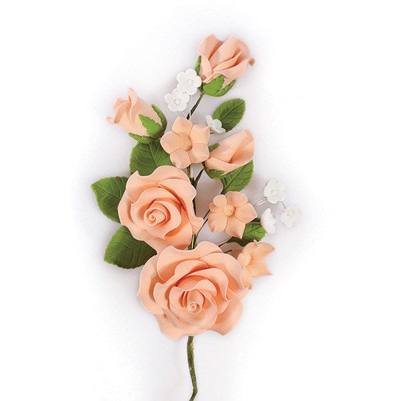 Gum Paste Spray Peach Decorative Floral Flower Decoration 145mm