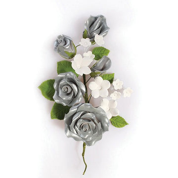 Gum Paste Spray Silver Decorative Floral Flower Rose Arrangement 145mm