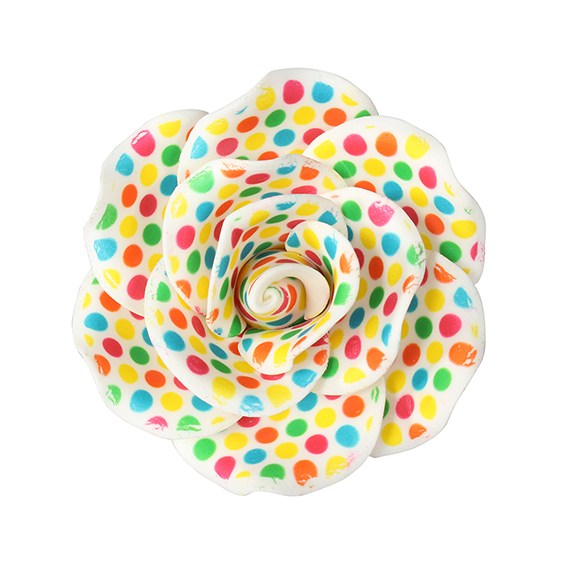 Gumpaste Rose Cake Decoration Colourful Multicoloured Spot 90mm