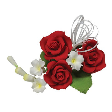 Gumpaste Trio Rose Red Floral Flower Sugar Spray Cake Topper  4''