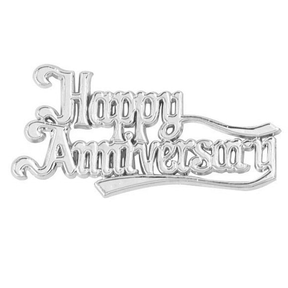 HAPPY ANNIVERSARY SILVER COLOURED PLASTIC CAKE TOPPER MOTTO
