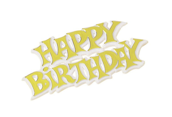 HAPPY BIRTHDAY GOLD AND WHITE PLASTIC CAKE DECORATION MOTTO