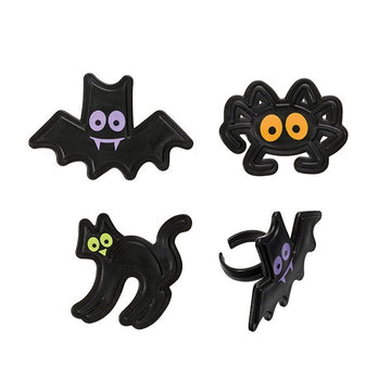Halloween Character Rings assorted bats, cats, Spiders - Sold Singly