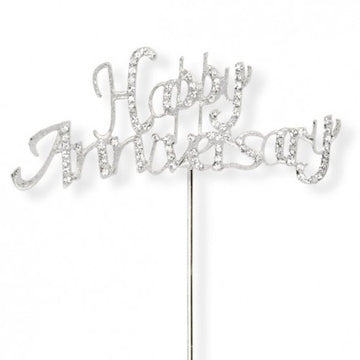 Happy Anniversary Silver Diamante Cake Topper