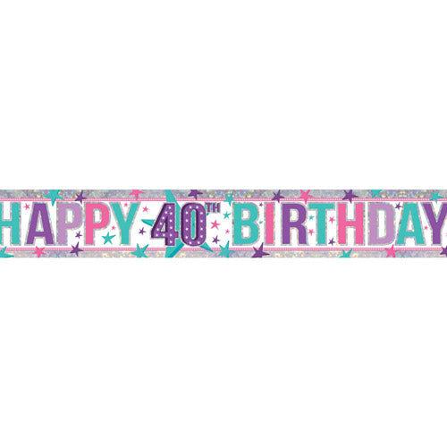 Happy 40th Birthday 40 Lilac / Pink Holographic Foil Banner - 2.7m