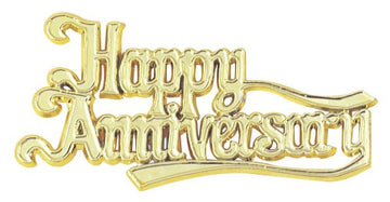 Happy Anniversary Gold Coloured Plastic Cake Topper Motto
