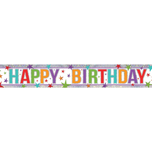 Happy Birthday Multi Colour Holographic Foil Banner - 2.7m