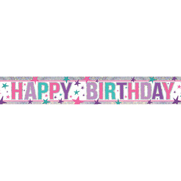 Happy Birthday Pink Holographic Foil Banner - 2.7m