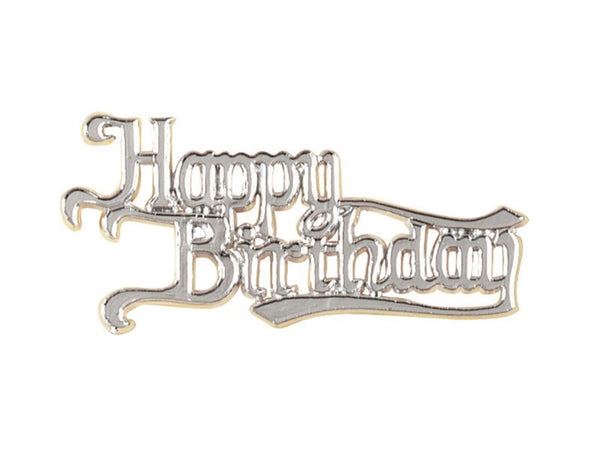 Happy Birthday Silver Colour Motto Cake Decoration