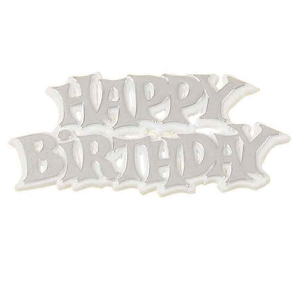 Happy Birthday Silver and White Plastic Cake Decoration Motto