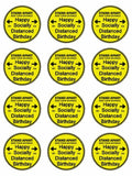 Happy lockdown birthday Socially Distanced Edible Printed CupCake Toppers Icing Sheet of 12 Toppers