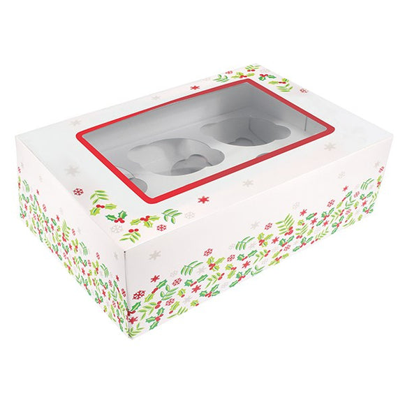 Christmas Holly 6 standard or 12 small Cupcake Box
