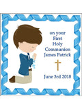Holy Communion Boy Religious Personalised Edible Cake Topper Square Icing Sheet